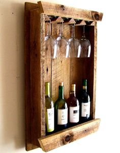 Image result for wood wine glass holder over a wine bottle