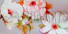 Blooming flowers piece oil painting