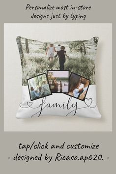 4 Photo Collage Family Typography Personalized Throw Pillow - tap, personalize, buy right now! #ThrowPillow #ricaso, #design #your #own, #create Photo Collage Gift, Create Your Own, Create Yourself, Accent Pillows, Throw Pillows, Instagram Collage, 4 Photos, Artwork Design, Store Design