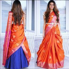 Beautiful orange silk saree turned lehenga dupatta #Frugal2Fab