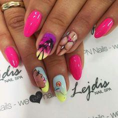 (notitle) From my phone Luv Nails, Pink Nails, Nail Swag, Super Cute Nails, Pretty Nails, Cool Nail Designs, Acrylic Nail Designs, Oval Nails, Nagel Gel