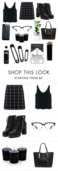 """#black"" by camalexis ❤ liked on Polyvore featuring Miss Selfridge, MANGO and Michael Kors"