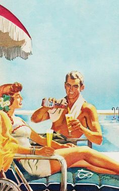 Poolside - detail from 1950 Budweiser ad. - Roger Wilkerson, The Suburban Legend!