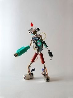 Lenny Lenfesteys creates these awesome tiny sparebots using spare computer parts, LEDs, and other electronic scraps. See also his collections of tiny planes, and wonderful tiny rockets. (via make)