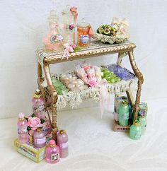 Shop display of ladies soaps, bath and spa products.