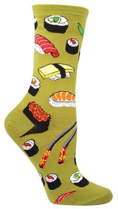 Green sushi crew length socks. Pass the soy sauce! These sushi socks are sure to get you craving your next sushi fix.  Fits a women's shoe size 5-10 and available in Fern, Black, & Purple.