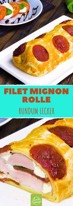 Üppige Genuss-Rolle mit zartem Filet Mignon #rezept #rezepte #blätterteig #getrocknetetomaten #mozzarella