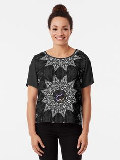 A silver, black, white and grey digital Medallion with an iridescent gem-sphere Tshirt Colors, Wardrobe Staples, Female Models, Iridescent, Chiffon Tops, Heather Grey, Classic T Shirts, Black White, Gems