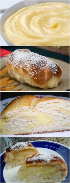 Pão Doce com Recheio de Creme VEJA AQUI>>>MASSA Em um recipiente, colocar farinha, fermento, sal, açúcar, leite, ovos, margarina essência de baunilha,misturar bem. Vai amassando e sovando a massa até desgrudar das mãos. Deixe descansar por 30 minutos #receita#bolo#torta#doce#sobremesa#aniversario#pudim#mousse#pave#Cheesecake#hocolate#confeitaria I Love Food, Good Food, Yummy Food, Cooking Bread, Cooking Recipes, Making Sweets, Confort Food, Portuguese Recipes, Pan Bread