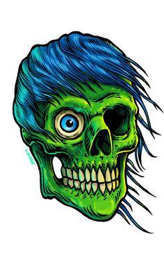 Green Zombie Sticker by Groenewold Mauricio. Joker Comic, Zombie T Shirt, Halloween Stickers, Monster Art, Hustle, Skulls, Stationary, Shirts, Black