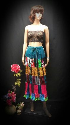 Boho Chic Skirt - Colorful Boho Dress - Bohemian Clothing - Patchwork Skirt - OOAK Hippie, Gypsy Patchwork Skirt - Draw String Maxi Skirt Check out this item in my Etsy shop https://www.etsy.com/listing/256802032/boho-chic-skirt-colorful-boho-dress