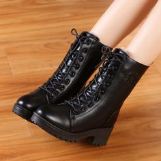 Womens Combat Military Thicken Warm Ankle Boots Low Heel Lace Up Round Toe Shoes