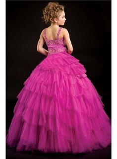 Cheap Fashion Ball Gown Straps Floor-Length Tiered Flower Girl Dress Under Price 109.99 - Gifilight.com