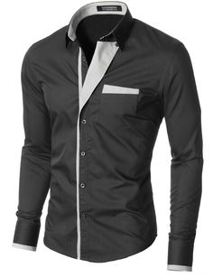 MODERNO Mens Slim Fit Button-Down Shirt (VGDS41LS) Charcoal. FREE worldwide shipping! 30 days return policy