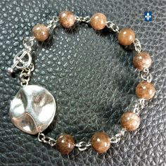 ♥ EASY SHIP TO USA   Pretty Coffee Agate  & Plated Silver Element Bracelet