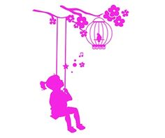 Girl on a swing silhouette