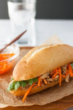 Roasted Chicken Banh Mi Sandwich - Vietnamese banh mi sandwich easily made using rotisserie chicken.