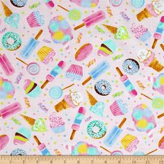 From Timeless Treasures, this cotton print fabric features your favorite sweet treats. From ice cream cones, to cupcakes, lollipops, and doughnuts, they're all here! It is perfect for quilting, apparel, and home decor accents. Colors include shades of pink, mint green, baby blue, brown, and cream.