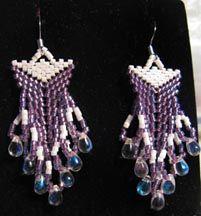 Double Beaded Triangle Earrings by Pamela Welborn AKA Violetbead