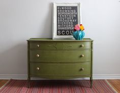 Green Dresser Painted with Milk Paint by Poppyseedliving