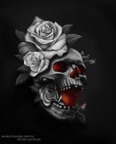 ArtStation - Sketches and arts, Anastasiya Smith Yogi Tattoo, Arm Tattoo, Rose Tattoos For Men, Tattoos For Guys, Skull Tattoo Design, Tattoo Designs, Skull Pictures, Skull Artwork, Skulls And Roses