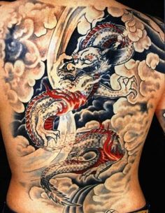 Wondering what type of a tattoo that will make you feel more physically fit, attractive and stronger? Go for dragon tattoos! 45 Creative Dragon Tattoos To Show Strength added. Dragon Tattoo Colour, Dragon Tattoo Back, Dragon Tattoo Designs, Japanese Dragon Tattoo Meaning, Japanese Dragon Tattoos, Japanese Tattoo Designs, Tattoo Japanese, Dragon Tattoo Pictures, Picture Tattoos