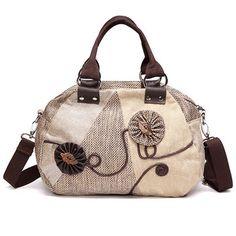Woman Canvas Crosbody Bag Floral Retro Shoulder Bag Handbag