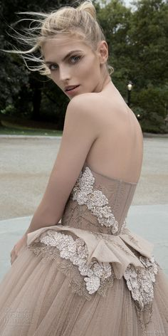 inbal dror 2016 wedding dress with strapless sweetheart corset ball gown wedding dress embellished bodice peplum taupe color style 04 sdv / http://www.deerpearlflowers.com/inbal-dror-fall-wedding-dresses-2016-new-york-colletion/