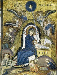 Palermo Chiesa Martorana - Nativity with Jesus' first bath   Nativity with Jesus' first bath Palermo Chiesa Martorana La Chiesa di Santa Maria dell'Ammiraglio  o San Nicolò dei Greci