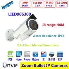 "133.00$  Buy here - http://alig85.worldwells.pw/go.php?t=32739692346 - ""Weatherproof bullet outdoor / indoor  1/3"""" cmos sensor 3MP IP security camera with POE 2.8-12mm varifocal lens P2P view"" 133.00$"