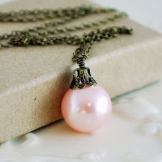 Pale Pink Jewelry Antiqued Brass Holiday Necklace by livjewellery, $25.00