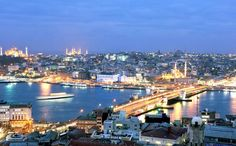 Lovely photo of Istanbul at dusk with the city lights!