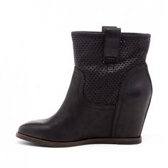 Women's Black Leather Wedge Bootie | Keyla by Sole Society - Have the identical Lucky Brand Keno Booties from last year and they're my go-to!