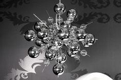 Beeindruckende Design Hängelampe GALAXIA chrom Leuchte 54 Glaskugeln