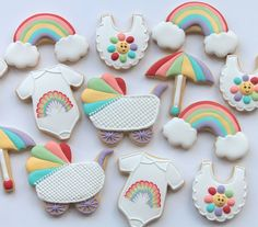 Rainbow baby shower cookies by Miss Biscuit