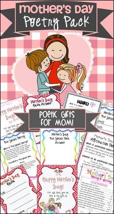 Mother's Day Poetry and Creative Writing Gift Pack! 4th Grade Activities, Teaching Activities, Teaching Writing, Teaching Science, Teaching Resources, Teaching Ideas, 2nd Grade Classroom, Classroom Fun, Kindergarten Poetry