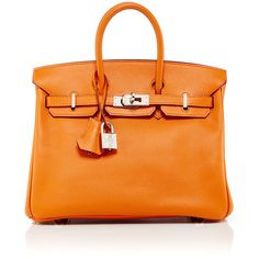 Heritage Auctions Special Collection Hermes 25cm Orange H Epsom... ($15,820) ❤ liked on Polyvore featuring bags, handbags, leather handbags, hermès, orange handbags, hermes purse and leather bags