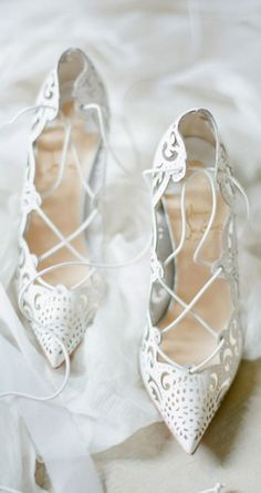 Christian Louboutin ~ Summer White Cut-out Lace-up Pumps, Sweet + Elegant
