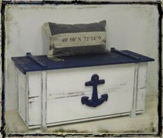 Large maritime chest vintage-style Shabby Chic