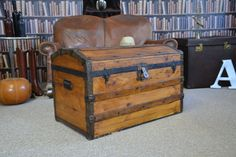 Vintage travel trunk manufactured by S. Storage Trunk, Storage Chest, Vintage Trunks, Steamer Trunk, Trunks And Chests, Hope Chest, 17th Century, Pine, Interiors