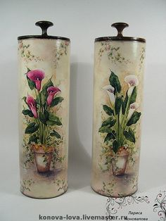 Not sure what these containers were originally, but this is a really nice makeover.  (IMG ONLY)