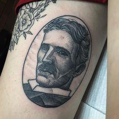 Nikola Tesla portrait for Madisyn @flttattoostudio