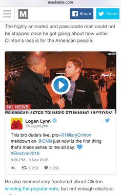 Me and bro dude on Mashable tonight FTW.  http://mashable.com/2016/11/10/hillary-supporter-meltdown-live/  #Election2016 #ImWithHer #Mashable