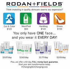 Rodan and Fields Regimens are more affordable than you think along with being a fabulous investment for yourself.  Each regimen contains four steps and it lasts for two months!  I use the Unblemish regimen and it has been LIFE CHANGING for me!  Start investing in the future of your skin TODAY. You will NOT be sorry you did! There is a skin care solution on this link to help determine which regimen is right for you!  Www.fullercari.myrandf.com  As always PC perks saves 10%