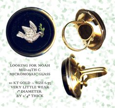 Late 19th C. Micromosaic Dove Ring (Stolen at eBay) ~ R C Larner Buttons at eBay  http://stores.ebay.com/RC-LARNER-BUTTONS