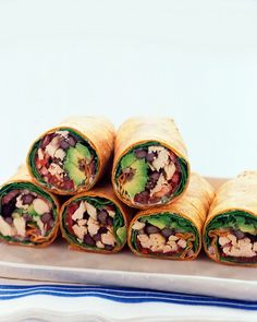 Southwestern Chicken Wraps. A tangy, spicy spread made from sour cream, pickled jalapenos, and lime juice adds kick to these wraps stuffed with chicken, black beans, tomato, and avocado. This recipe is a great way to use leftover chicken or turkey.
