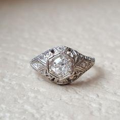 Vintage Antique Art Deco 0.50 Carat Old European Diamond Engagement Wedding Ring with 14k White Gold