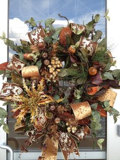 Harvest Wreath Wreath Ideas, Diy Wreath, Door Wreaths, Grapevine Wreath, Thanksgiving Wreaths, Holiday Wreaths, Holiday Decor, Front Door Design, Beautiful Flower Arrangements
