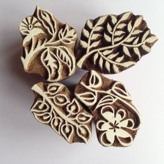 Indian Woodblock Stamps set of 4 - Plants NEW