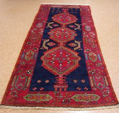 4x11 Caucasian Tribal Hand Knotted Traditional Blue Red Wool Runner Oriental Rug #CaucasianGeometricTribal